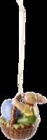 Závesná ozdoba košík - zajačik 5,7 cm Bunny Family