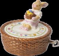 Hracia skrinka, košík 10 cm Bunny Family