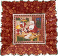 Štvorcová misa, Santa v dielni, 23 cm Toy's Fant.