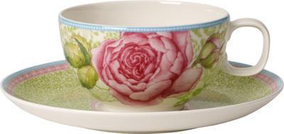 Čajová šálka s podšálkou / zelená Rose Cottage - 1