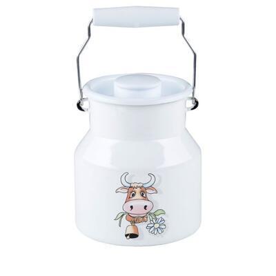 Smaltovaná kanvica na mlieko 1 l, kravička Riess