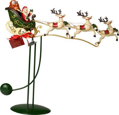 Kovová hojdačka, Santa na saniach Winter Coll. Ac.