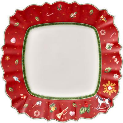 Červený hranatý plytký tanier 28,5 cm Toy's Delig. - 1