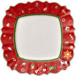 Červený hranatý plytký tanier 28,5 cm Toy's Delig. - 1/2
