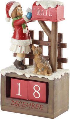 Adventný kalendár, dievča 22,5 cm Winter Col. Acc.