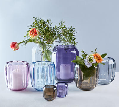 Váza/lampa na čajovú sviečku, fialová Col. DeLight - 2