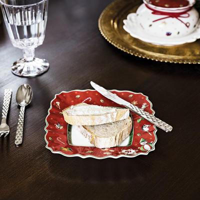 Červený hranatý tanier na chlieb/maslo 17 cm TD - 2